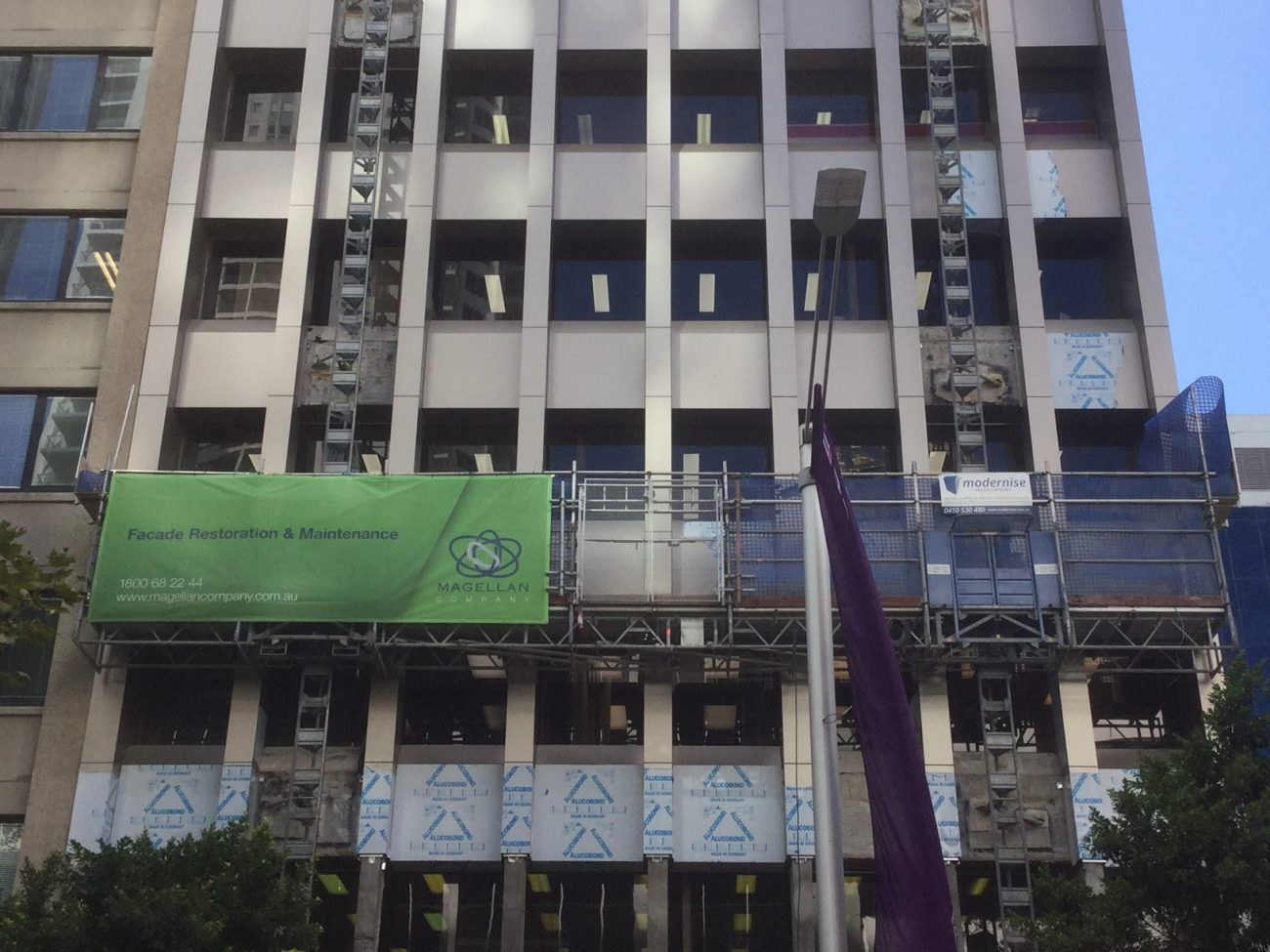 Cladding Works At The Walker - Concrete Repair Sydney - Magellan Company